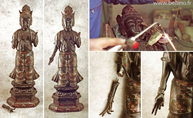 Restauration d'un Boudha en bronze